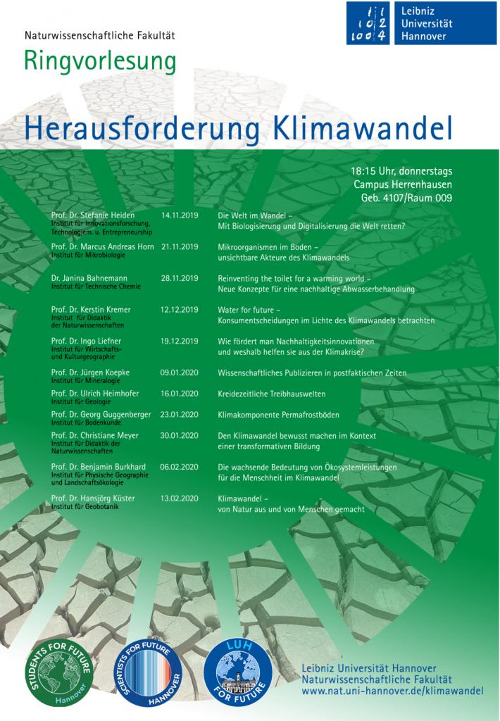 """Ringvorlesung: """"Die wachsende Bedeutung von Ökosystemleistungen für die Menschheit im Klimawandel"""" (Prof. Dr. Benjamin Burkhard) @ Herrenhäuser Str. 2A, Raum 009"""