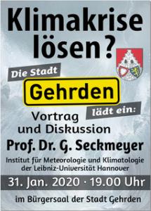 """Vortrag """"Klimakrise lösen?"""" (Prof. Dr. Gunther Seckmeyer) @ Bürgersaal, Gehrden"""