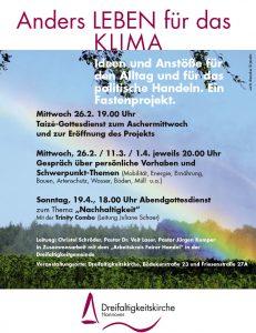 """Klima-Fasten-Projekt: Abend-Gottesdienst zum Thema """"Nachhaltigkeit"""" @ Gemeindehaus der Dreifaltigkeitskirche (Friesenstr. 27A)"""