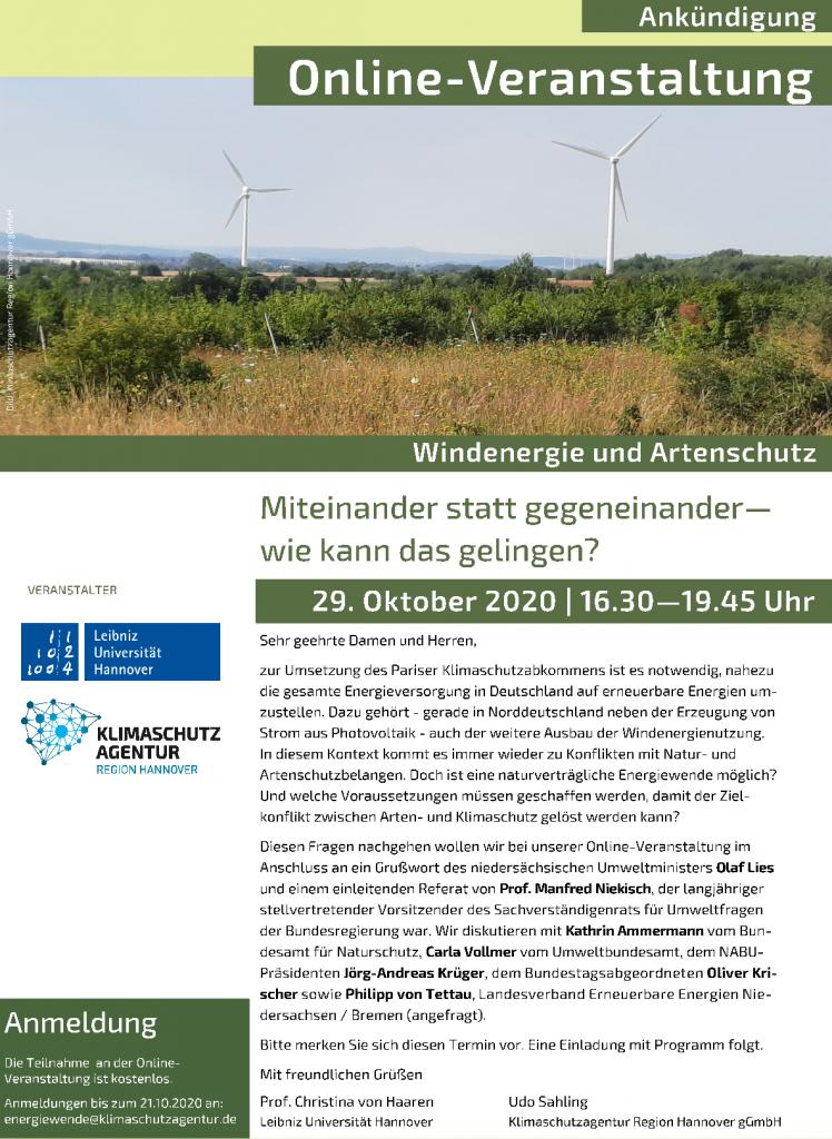 Windenergie und Artenschutz: Miteinander statt gegeneinander – wie kann das gelingen? @ online