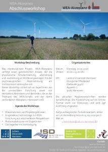 Projekt Windenergieanlagen-Akzeptanz: Abschlussworkshop @ Königlicher Pferdestall, Appelstr. 7, 30167 Hannover