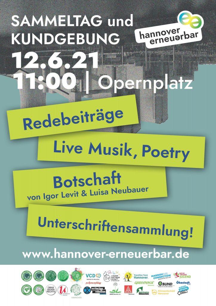 Bürger*innenbegehren hannover erneuerbar: Sammeltag und Kundgebung, Live-Musik, Poetry u.v.m.